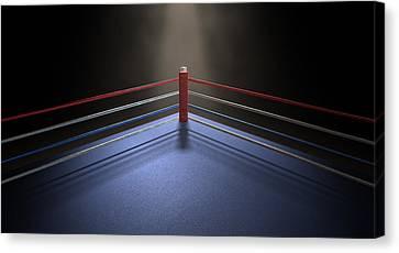 Boxing Corner Spotlit Dark Canvas Print by Allan Swart