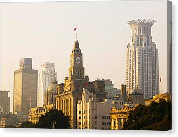 Buildings In A City At Dawn, The Bund Canvas Print by Panoramic Images