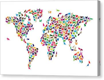Cats Map Of The World Map Canvas Print by Michael Tompsett