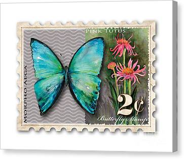 2 Cent Butterfly Stamp Canvas Print by Amy Kirkpatrick