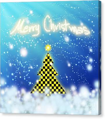 Chess Style Christmas Tree Canvas Print by Atiketta Sangasaeng