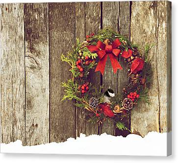 Christmas Chickadee. Canvas Print by Kelly Nelson