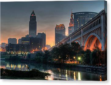 Cleveland Skyline At Dawn Canvas Print by At Lands End Photography