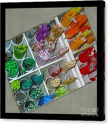 Colorful Glass Rods Canvas Print by Judi Bagwell