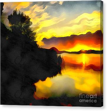 Colors At The Lake Canvas Print by Odon Czintos