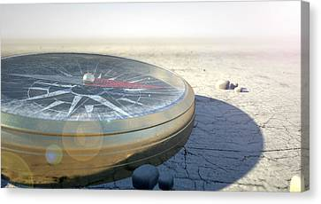 Compass In The Desert Canvas Print by Allan Swart