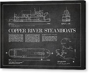 Copper River Steamboats Blueprint Canvas Print by Aged Pixel