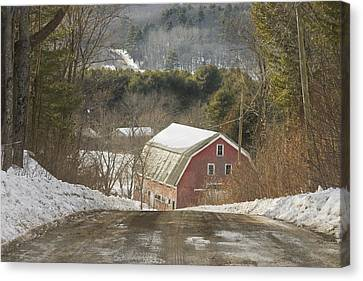 Country Road And Barn In Winter Maine Canvas Print by Keith Webber Jr