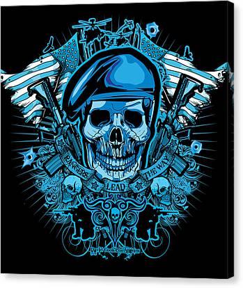 Dcla Los Angeles Skull Army Ranger Artwork Canvas Print by David Cook Los Angeles