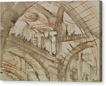 Drawing Of An Imaginary Prison Canvas Print by Giovanni Battista Piranesi