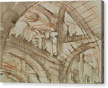 Drawing Of An Imaginary Prison Canvas Print by Giovanni Battista Piranesi