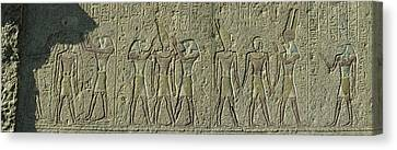 Egyptian Hieroglyphs On The Wall Canvas Print by Panoramic Images