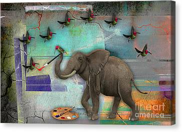 Elephant Painting Birds Out Of Thin Air. Canvas Print by Marvin Blaine