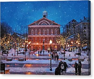 Faneuil Hall Winter Canvas Print by Joann Vitali