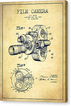 Film Camera Patent Drawing From 1938 Canvas Print by Aged Pixel