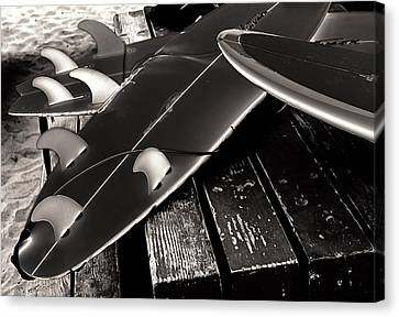 Fins And Boards Canvas Print by Ron Regalado