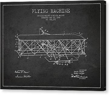 Flying Machine Patent Drawing From 1906 Canvas Print by Aged Pixel