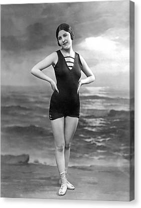 French Woman In A Bathing Suit Canvas Print by Underwood Archives