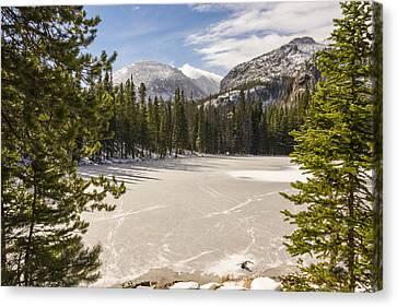 Frozen Nymph Lake - Rocky Mountain National Park Estes Park Colorado Canvas Print by Brian Harig