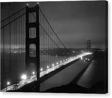 Golden Gate Bridge At Night Canvas Print by Underwood Archives