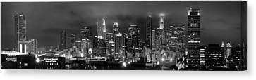 Gotham City - Los Angeles Skyline Downtown At Night Canvas Print by Jon Holiday