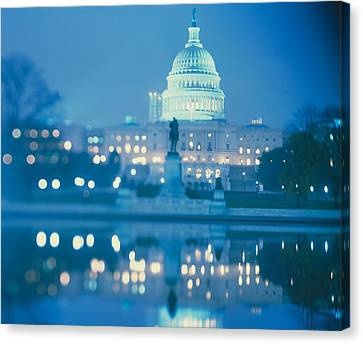 Government Building Lit Up At Night Canvas Print by Panoramic Images