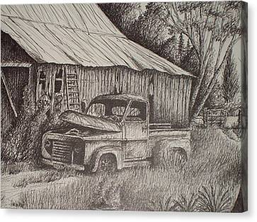Grandpa's Old Barn With Chevy Truck Canvas Print by Chris Shepherd