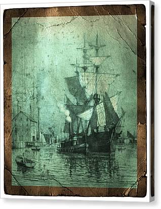 Grungy Historic Seaport Schooner Canvas Print by John Stephens