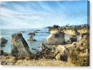 Hazy Lazy Day Pismo Beach California Canvas Print by Barbara Snyder
