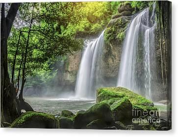 Heo Suwat Waterfall  Canvas Print by Anek Suwannaphoom
