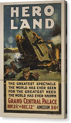 Hero Land Poster Canvas Print by Underwood Archives