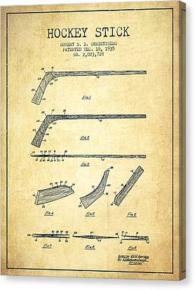 Hockey Stick Patent Drawing From 1935 Canvas Print by Aged Pixel