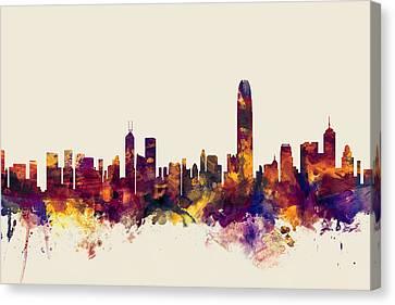 Hong Kong Skyline Canvas Print by Michael Tompsett