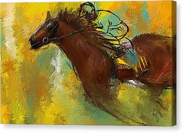 Horse Racing Abstract Canvas Print by Lourry Legarde