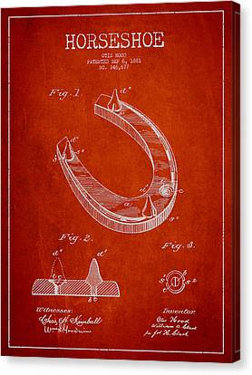 Horseshoe Patent Drawing From 1881 Canvas Print by Aged Pixel