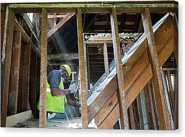 House Deconstruction And Recycling Canvas Print by Jim West