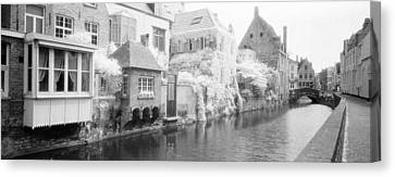 Houses Along A Channel, Bruges, West Canvas Print by Panoramic Images