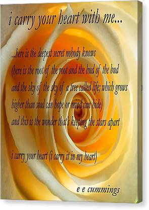 I Carry Your Heart With Me... Canvas Print by Steve Harrington