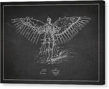 Icarus Flying Machine Patent Drawing Front View Canvas Print by Aged Pixel
