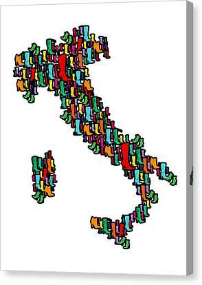 Italy Map Canvas Print by Mark Ashkenazi