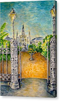 Jackson Square- Early Morning Canvas Print by Joan Landry