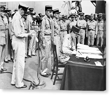 Japanese Surrender Ceremony Canvas Print by Underwood Archives