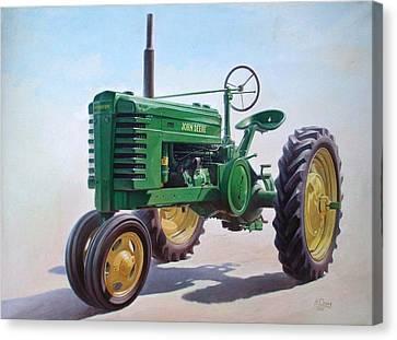 John Deere Tractor Canvas Print by Hans Droog