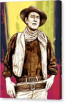 John Wayne Stylised Pop Art Drawing Potrait Poser Canvas Print by Kim Wang