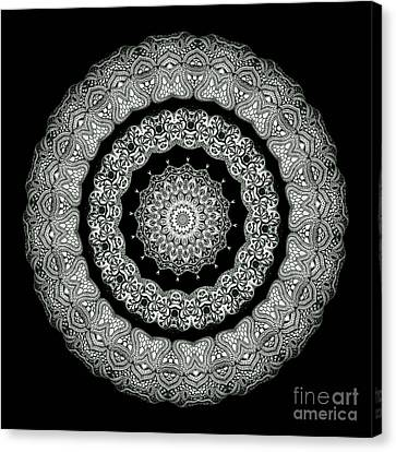 Kaleidoscope Ernst Haeckl Sea Life Series Black And White Set On Canvas Print by Amy Cicconi