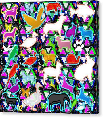 Kids Count Birds Animals Fish Pets Wild Parrot Duck Snail Elephant Rabbit Deer Lamb   Canvas Print by Navin Joshi
