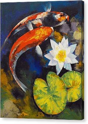 Koi Fish And Water Lily Canvas Print by Michael Creese
