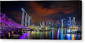Landscape Of Singapore City Canvas Print by Anek Suwannaphoom