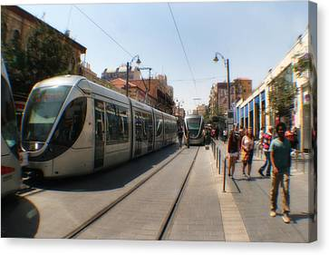 Light Rail Jerusalem Canvas Print by Doc Braham