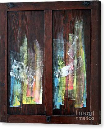 Log Fire Cabinet Door Canvas Print by Asha Carolyn Young
